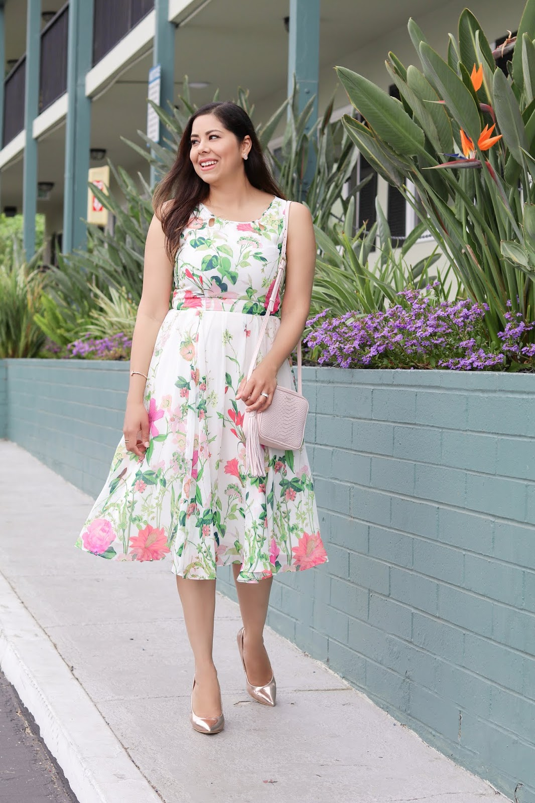 vibrant floral dress, san diego affordable style