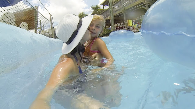 Amy West and daughter enjoy the park's lazy river