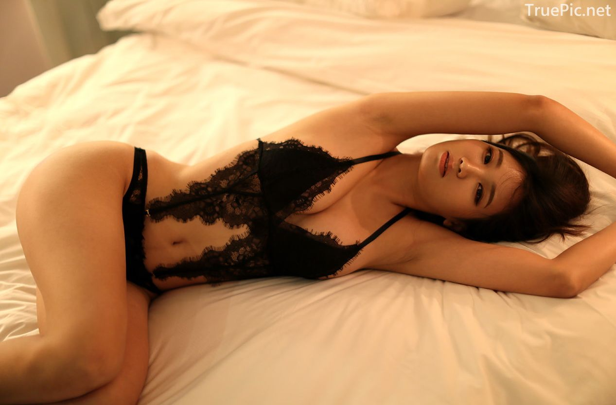 Lee Hee Eun - Bohemian lace black lingerie - Korean model and fashion - Picture 2