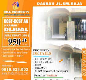 Rumah Kost (kost-kostan) di jual dearah jl.sm.raja medan 9 kamar <del>Rp 1.2 Miliar</del> <price>Rp 950 Jt</price> <code>KOST-KOSTAN-SM.RAJA</code>