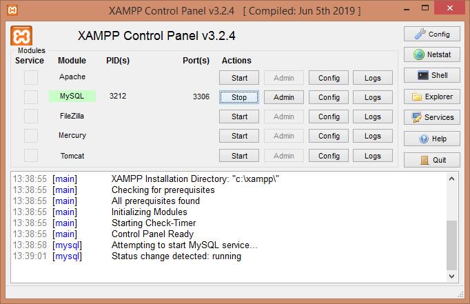 Gambar Menjalankan server database dbms mysql di xampp
