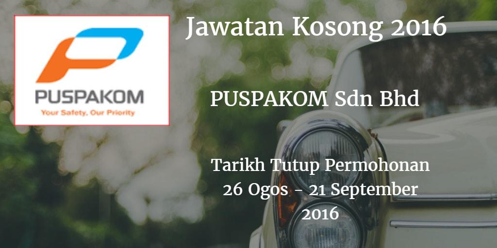 Jawatan Kosong PUSPAKOM Sdn Bhd 26 Ogos - 21 September 2016