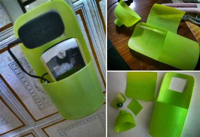 Gambar cara membuat tempat / tatakan cas HP dari botol bekas