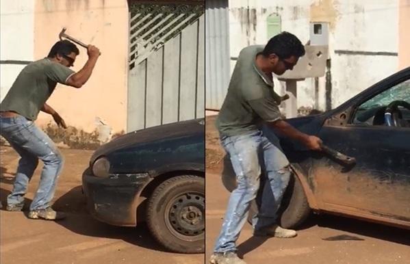 Motorista destrói o próprio carro com marreta ao saber que veículo seria levado pela Semtran, em Porto Velho