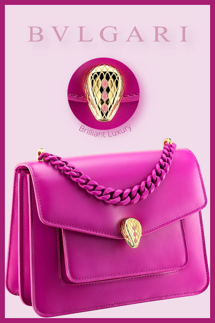 Bvlgari Serpenti Forever small maxi chain crossbody bag in magenta spinel purple nappa leather #brilliantluxury