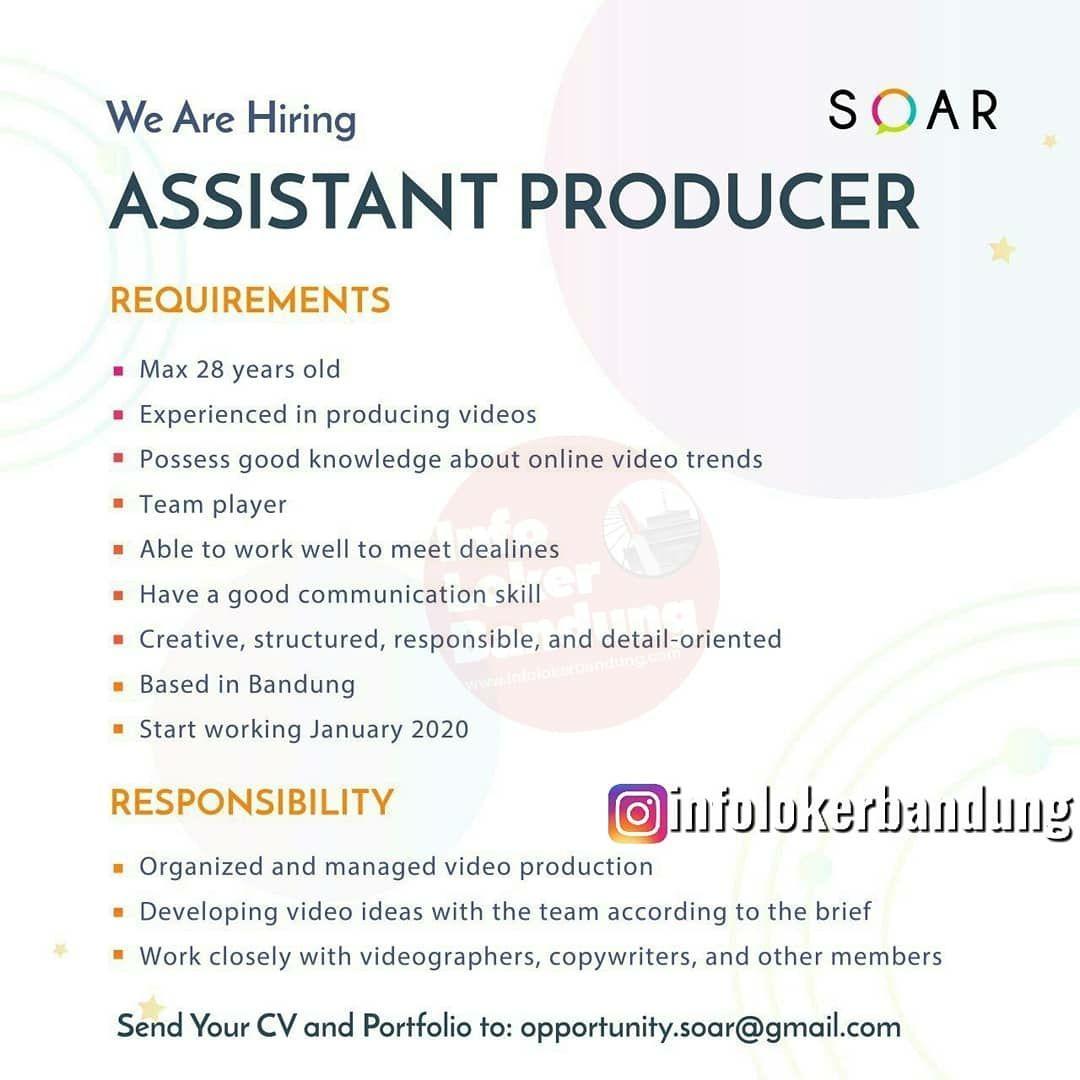 Lowongan Kerja Asistant Producer & Copy Writer Soar.id Bandung Januari 2020