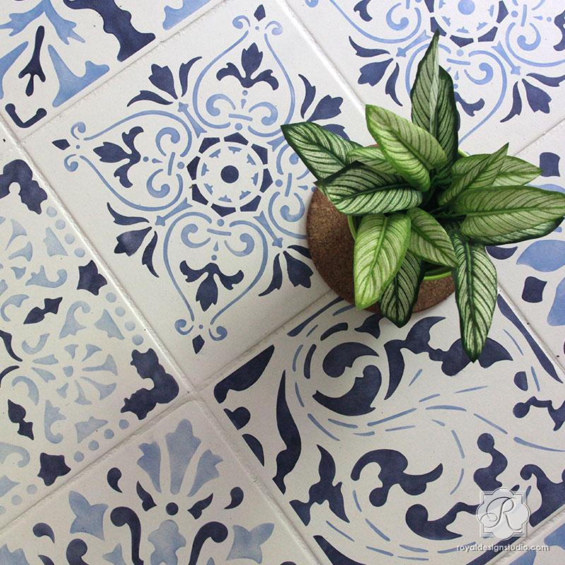 Royal Design studio Renaissance stencil for handpainted floor tile look on Hello Lovely Studio