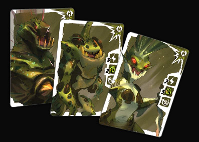 Picture showing cards used in the game itself, with drawn, artistic renditions of the miniatures.