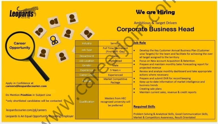 Leopards Courier Jobs Corporate Business Head
