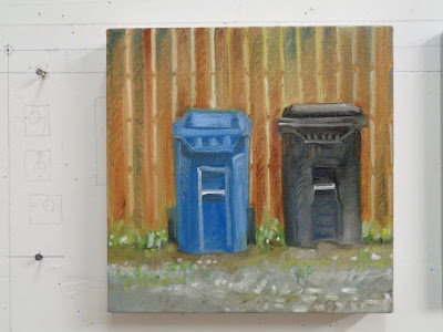 oil painting of garbage & recycling bins in front of a wood fence