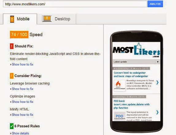 Mobile PageSpeed Insights