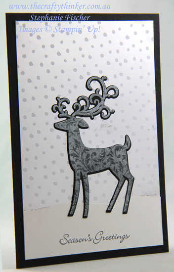 #thecraftythinker #stampinup #cardmaking #christmascard #dashingdeer , Christmas card, Dashing Deer, Detailed Deer, Feels Like Frost, Silvery Shimmer ink, Stampin' Up Australia Demonstrator, Stephanie Fischer, Sydney NSW