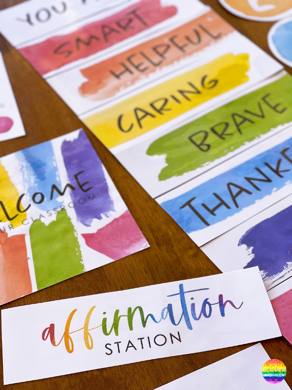 Rainbow watercolor affirmation station for class | you clever monkey