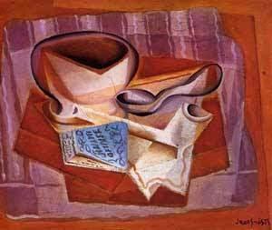 Livro, Tigela e Colher - Técnica de colagem e cubismo nas obras de Juan Gris