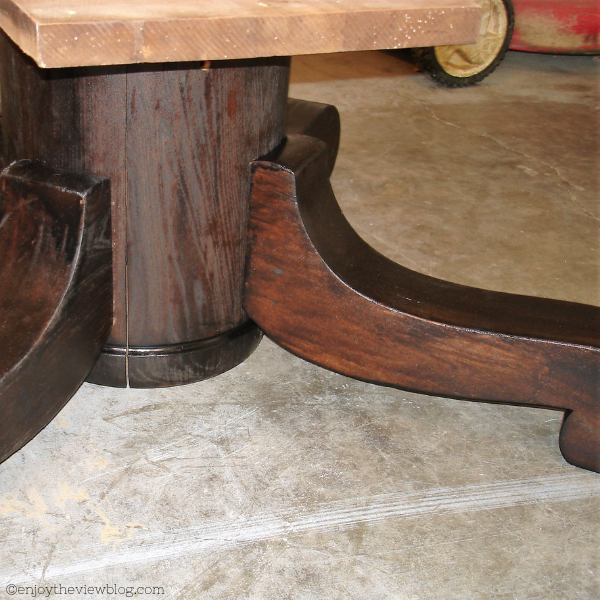 base and legs of a coffee table stained in espresso