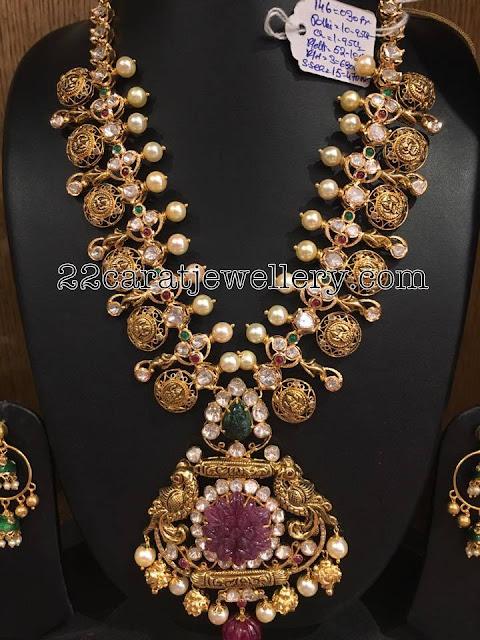 Lakshmi Haram with Pearls 146 grams