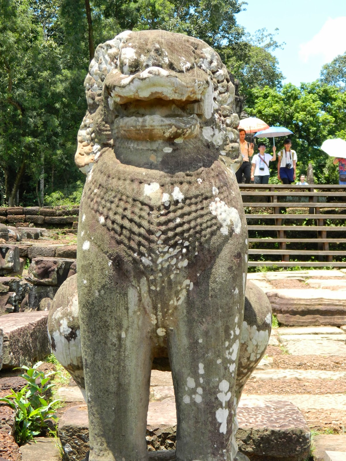 Statues of lions are seen everywhere but surprisingly there were/are no lions in Cambodia. The guide said that these were again depicted due to Indian influence.