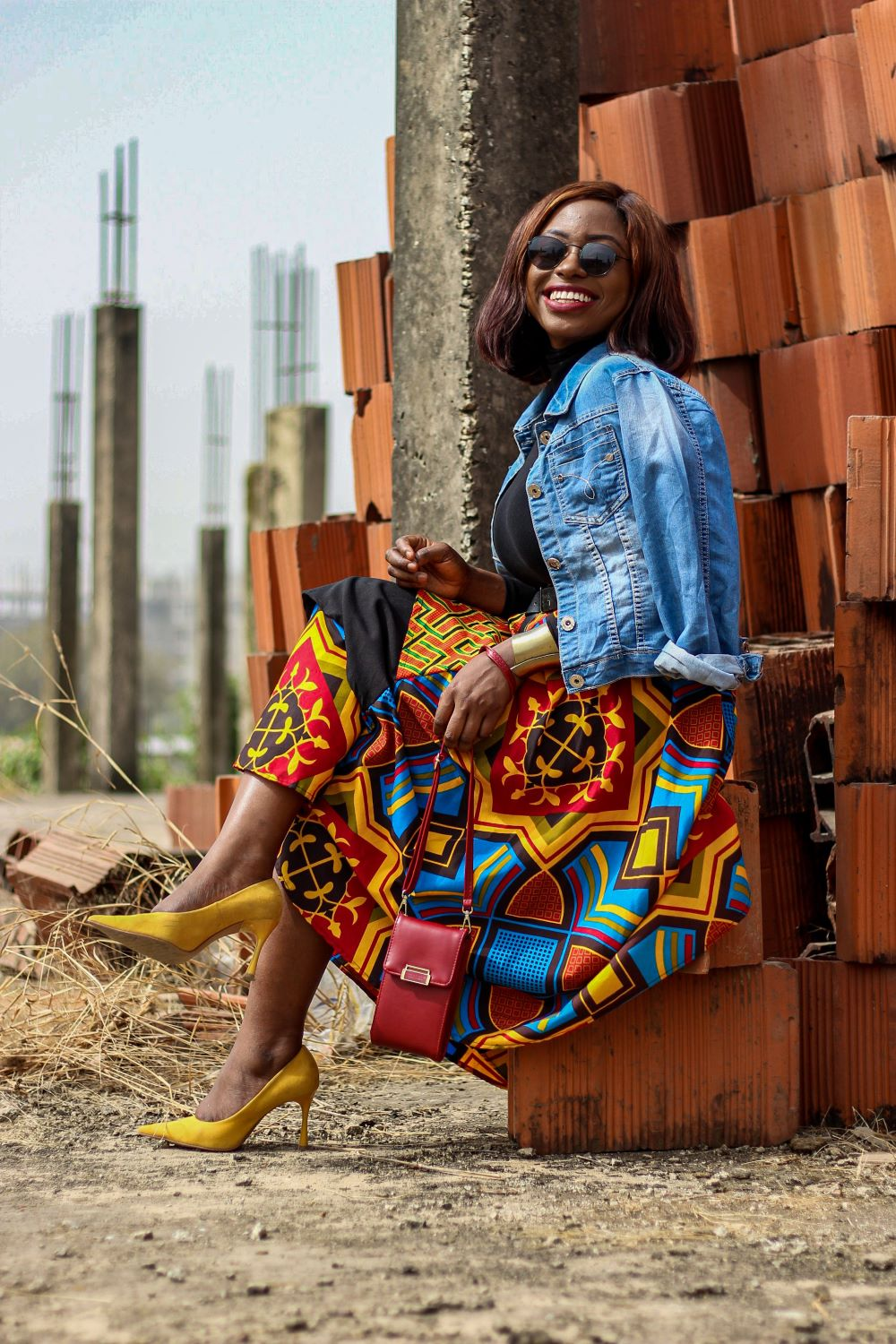 Ankara Skirt styled with black Turtle Neck and Denim Jacket