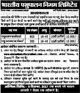 Bharatiya Pashupalan Nigam Limited (BPNL) Recruitment 2017