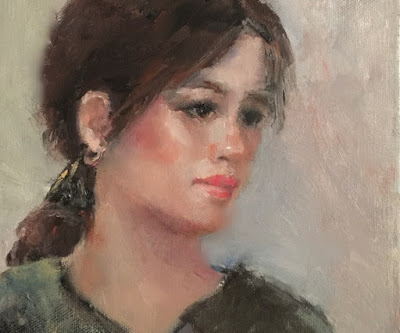 oil portrait woman head turned slight smile gold earrings