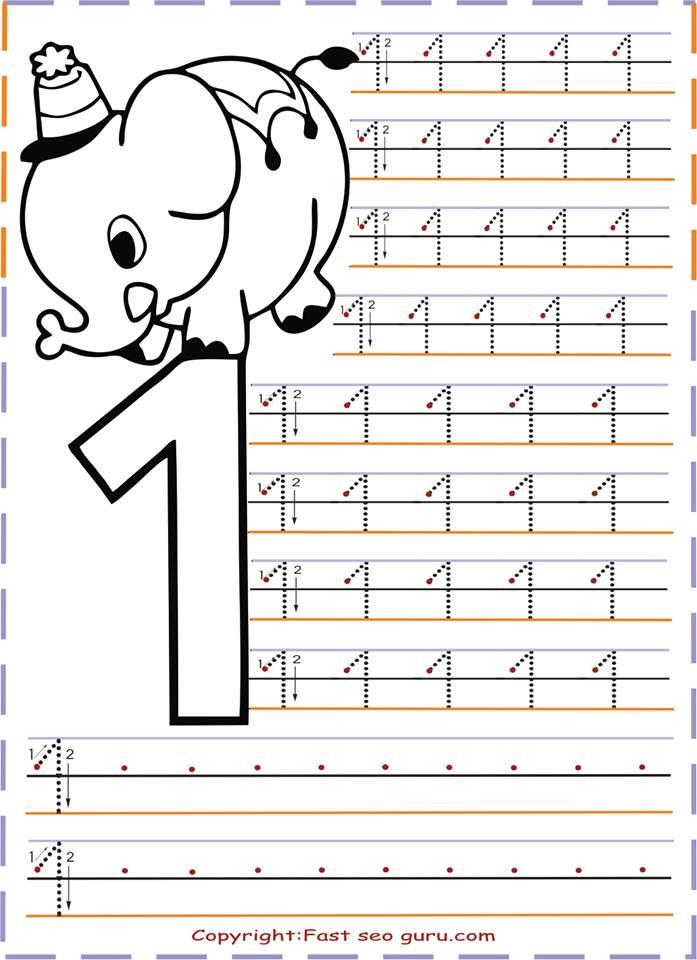 أوراق عمل الأرقام من1 10 كتابة و تلوين بصيغة Pdf الموقع