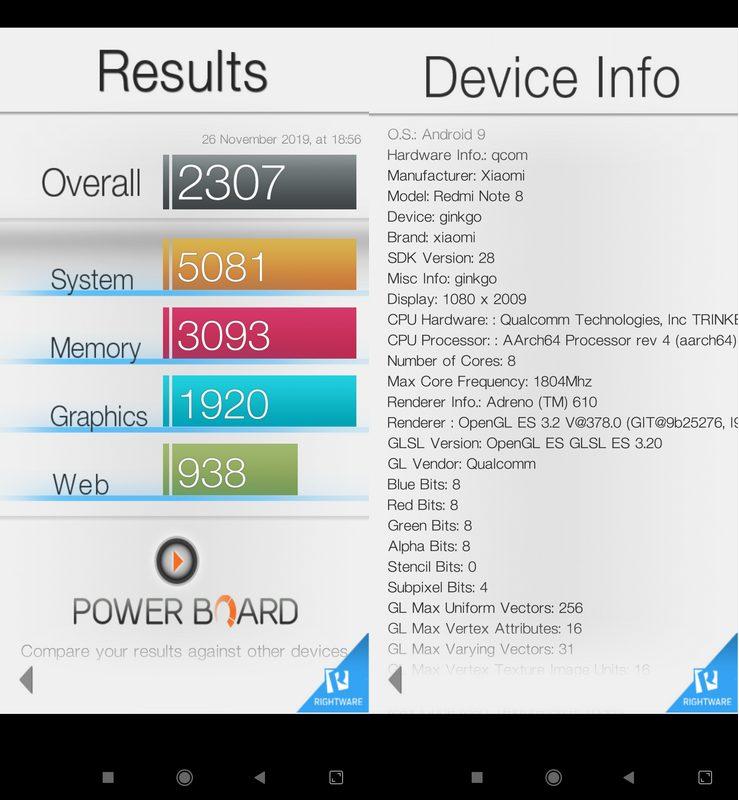 Benchmark Basemark OS II Xiaomi Redmi Note 8