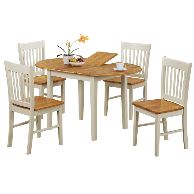 5pc oval dinette kitchen dining set table with 4 wood seat for Fantastic furniture dining table 8 seater