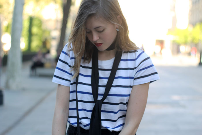 Black jeans and stripes