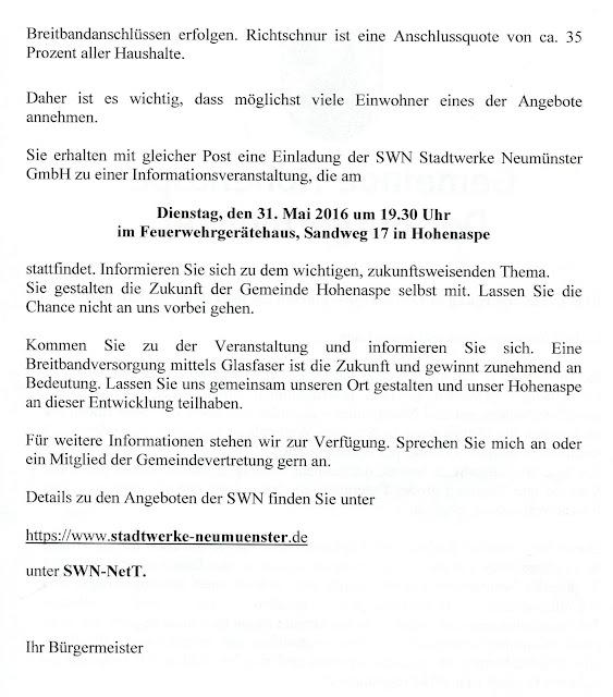 Hohenaspe - eine Gemeinde stellt sich vor!: Mai 2016