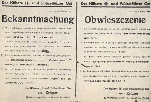 German warning against aiding partisans, 22 February 1942, worldwartwo.filminspector.com