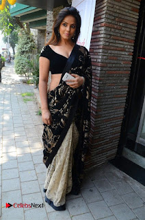 Actress Neetu Chandra Stills in Black Saree at Designer Sandhya Singh's Store Launch  0081.jpg