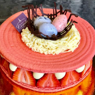 Patisserie Coralie's Delectable Strawberry Basil Macaron Cake Image Credit Patisserie Coralie
