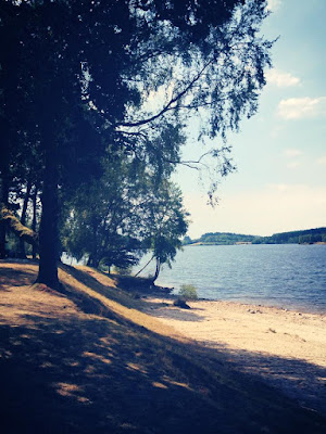 Broussas beach on the Lac de Vassiviere, Limousin, Creuse, France