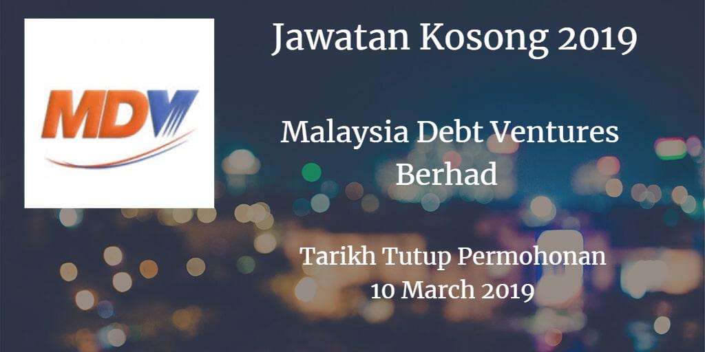 Jawatan Kosong Malaysia Debt Ventures Berhad 10 March 2019