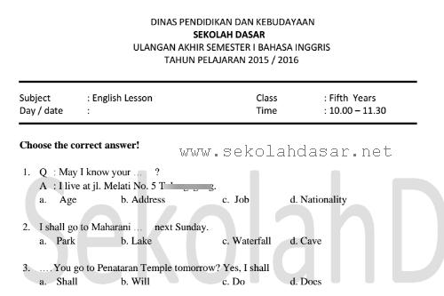 Soal Uas Bahasa Inggris Semester 1 Kelas 5 Sd Mi Informasi Pendidikan