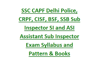 SSC CAPF Delhi Police, CRPF, CISF, BSF, SSB Sub Inspector SI and ASI Assistant Sub Inspector Exam Syllabus and Pattern