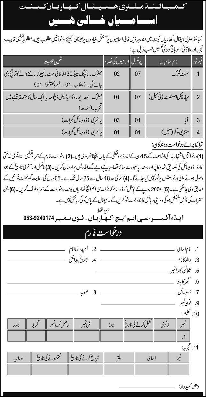 Combined Military Hospital CMH Jobs 2020 Sindh Jobs