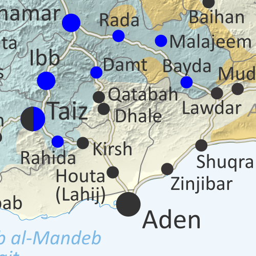 Map of what is happening in Yemen as of June 15, 2019, including territorial control for the unrecognized Houthi government and former president Saleh's forces, president-in-exile Hadi and his allies in the Saudi-led coalition and Southern Movement, and Al Qaeda in the Arabian Peninsula (AQAP). Includes recent locations of fighting, including Qatabah, Dhale, Ketaf, Harad, and more. Colorblind accessible.