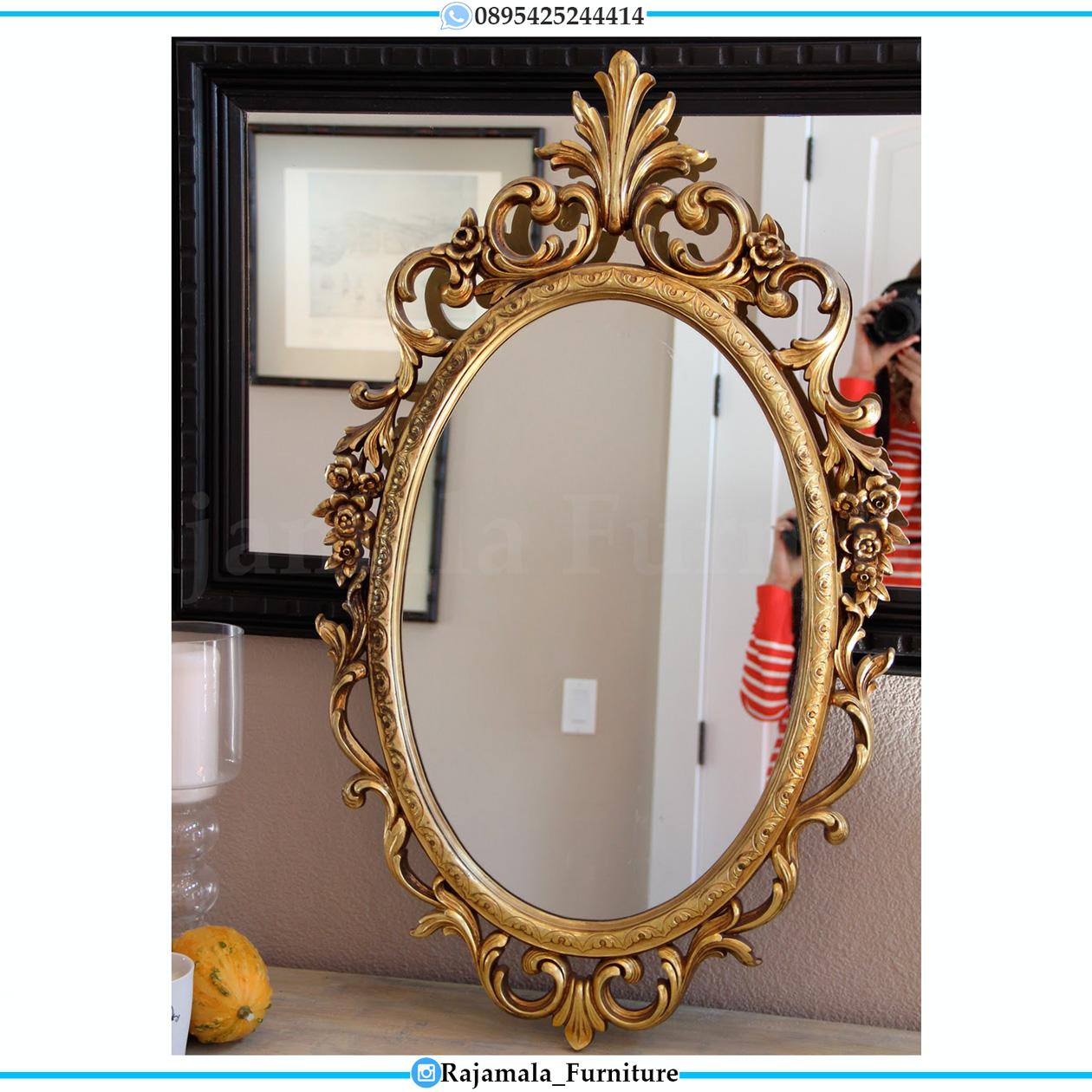 Cermin Hias Mewah Ukiran Luxury Crown Classic Golden Glowing Jepara RM-0504