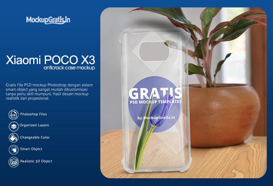PSD Mockup Case Anticrack Xiaomi POCO X3