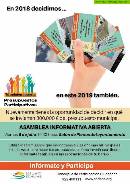 El Ayuntamiento de Los Llanos destinará 300.000 euros a los presupuestos participativos de 2020