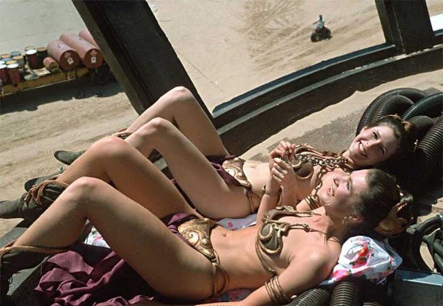 Fotografías de Carrie Fisher y su doble Tracey Eddon en el rodaje de El retorno del Jedi