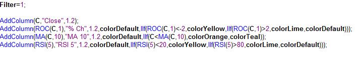 VFMDirect in: Color formatting Amibroker exploration results