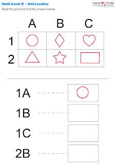 Mama Love Print 自製工作紙  - 幼兒數學空間座標工作紙  Learning Coordinates Math Worksheet
