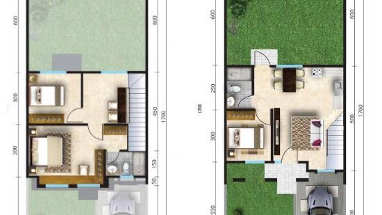 Lingkar Warna 3 Denah Rumah Minimalis Ukuran 7x17 Meter 3 Kamar Tidur 2 Lantai Tampak Depan