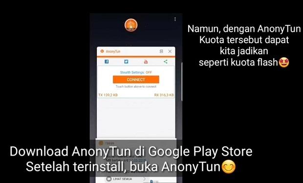 Cara Mengubah Kuota Chat dan Social Media menjadi Kuota Flash Dengan Anonytun 2019 : Langkah Pertama