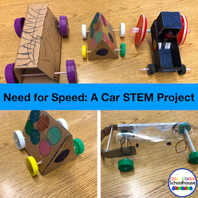 Cars students made for a STEM Project