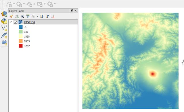 DEM Data in Singleband Pseudocolor