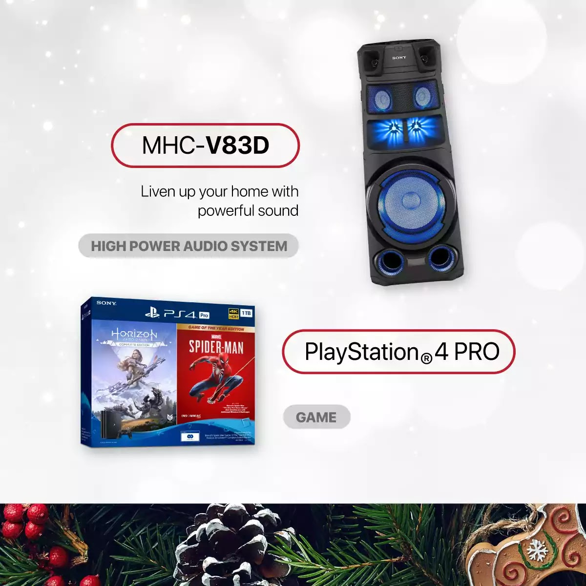 Sony PlayStation 4 PRO and MHC-V83D power audio system