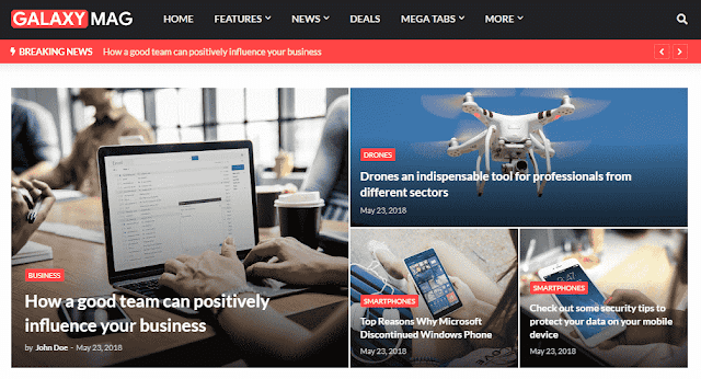 Chia sẻ GalaxyMag News Magazine Blogger Template